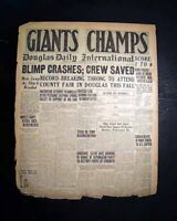 NEW YORK GIANTS World Series Champions vs. New York Yankees 1921 Old Newspaper