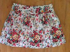 Ladies CKM Cream Floral Skirt Size 10 Caroline Morgan Cotton Full Mini