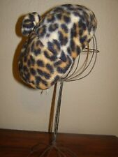 Vintage Leopard Wool Felt Beret