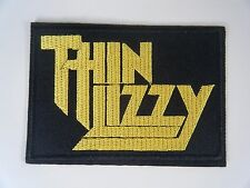 THIN LIZZY PATCH Embroidered Iron On Rock Band Badge Yellow Logo Fighting NEW