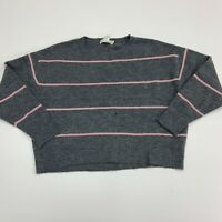 H&M LOGG Sweater Womens Size S Mulitcolor Long Sleeve Knit Striped Grey Pink