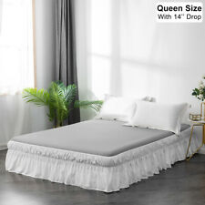 14'' Drop Bed Skirt Dressing Dust Ruffle Wrap Around Bed Microfiber Queen White