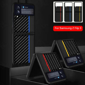 Carbon Fiber Phone Case For Samsung Galaxy Z Flip 3 5G Leather Shockproof Cover