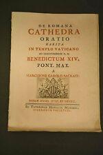 M.C. SACRATI 1750 Roma GIUBILEO Papa Benedetto XIV ORAZIONE in Vaticano Trono