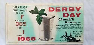 1968 Kentucky Derby Ticket Stub Forward Pass Winner Churchill Downs Club House