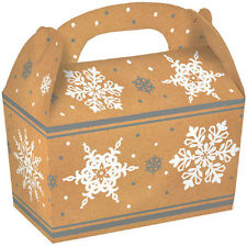5 Count Christmas Party Gold Snowflake Large Cardboard Gable Gift Boxes