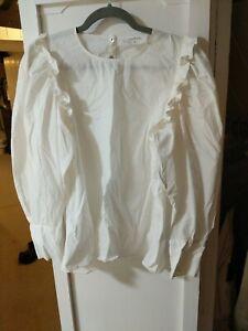 Ba&sh BASH Top Passion Shirt  Top Blouse Size 2 Uk 12 Puff Sleeves Frill