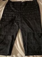 Chicos The Crop Pants Stretch Size 2.5 Black Diamond Pattern Ankle Zipper