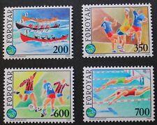 Sports FRANCOBOLLI, 1989 Canottaggio, pallamano, CALCIO delle isole Fær Øer SG ref:181-184, Gomma integra, non linguellato