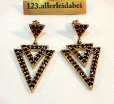 schöne Granat Ohrringe 900 Silber vergoldet Schraubverschluss Ohrhänger / AX 649