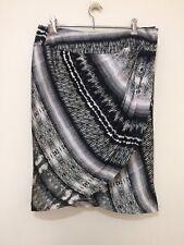 COUNTRY ROAD Womens Black & White 100% Silk Wrap Skirt Size 10 #Ebaymarket