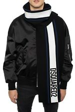 $385 DSQUARED2 black logo embroidered wool blend scarf authentic - NWT
