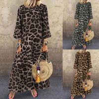 US STOCK Women Leopard Print Long Shirt Dress Beach Party Swing Maxi Long Dress