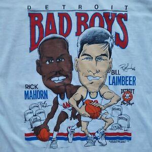 "Vtg 1989 NBA Detroit Pistons Bad Boys Mahorn Laimbeer T-shirt Tee XXL 2XL ""RARE"""