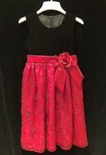 Girls Velvet & Sequined Chiffon Holiday Dress Size 10/12 Christmas Party