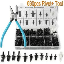 690Pcs Car Automotive Push Pin Rivet Trim Clips Panel Retainer + Puller Tool
