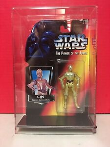 Star Wars Power Of The Force C-3PO Action Figure Acrylic Case 1995 Kenner Japan