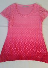 NY Collection Pink Top Medium Womens Ombre Crochet Short Sleeve Tunic Shirt