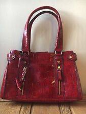 Liz Claiborne Designer Patent Red Clutch Grab Croc Large Hobo Holiday Evening