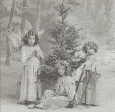 2 Serviettes papier Anges Noël Sapin Paper Napkins Chrismas Angels Sagen Vintage