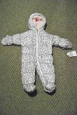 new baby girls carters animal print faux fur trimmed snowsuit size 3-6
