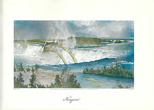VINTAGE ART PRINT OF EARLY PICTURESQUE AMERICA - 1874 - NIAGARA