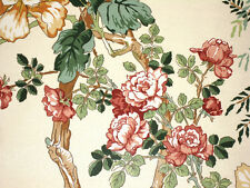 LEE JOFA CHINESE PEONY FLORAL DESIGN FABRIC ON A NATURAL BACKGROUND