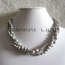 """18"""" 3-9mm Silver Gray 4row Rice off Round Freshwater Pearl Necklace Jewelry UE"""
