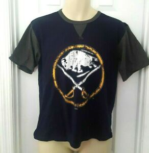 BUFFALO SABRES Youth T Shirt Size Large Jersey Style Distressed Logo Majestic