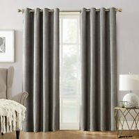 "SUN ZERO Manor Chenille Velvet Blackout Grommet Single Curtain Panel Gray 52x84"""