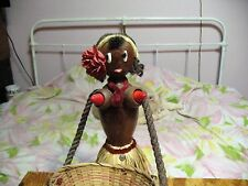 Mid Century Modern Hawaii Hula Girl Light Up Boobs Lamp Straw Skirt Hold Basket