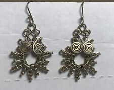 Silver Tone Wire Earrings Boho Pierced