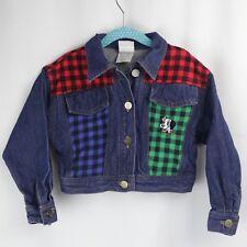 Vtg 90s Disney Jean Jacket Girls Denim 101 Dalmatians Plaid Toddler USA 3T 4T