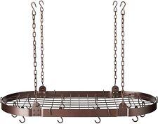 Bronze Oval Pot Rack 12 Hooks Hanging Organizer Steel Storage Pan Holder Kitchen