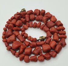 Antike Edele Blut Rot Korallen Kette - Dunkel Rot - Natur Koralle - 29.5.20