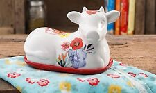 The Pioneer Woman, Flea Market, Cow Butter Dish, Floral Decorated NIB - HTF!!
