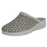 Women's Beige Leather Slip On Clogs Nurse Shoes Garden Mules