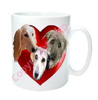 Dog Mug, Sighthounds, Lurchers, Salukis Mug Hearts, Birthday Mothers Day Gift