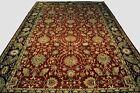Agra Handmade 12 x 17 New Indian Traditional Shah Abbasi Burgundy Wool Rug