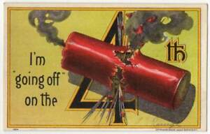 011621 VINTAGE FOURTH OF JULY POSTCARD FIRECRACKER GOING OFF ON THE 4TH