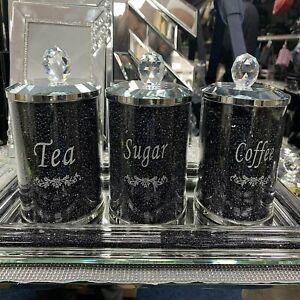 DIAMOND CRUSHED BLACK CRYSTAL FILLED TEA COFFEE SUGAR CANISTERS JARS STORAGE UK
