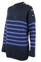 Navy Blue Striped Knitted Cotton Rich Womens Funnel Neck Jumper SIZE 20 & 22