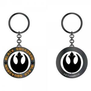Official Star Wars Metal Keyring Rouge One Spinner Keychain Black Squadron UK