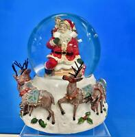 Kurt Adler~Santa w/ Big Bag Musical~Water Snow Globe, 100mm~Christmas Decor