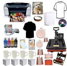 8in1 Pro Sublimation Heat Transfer Press,Epson Printer C88 CISS Ink T-shirts,Mug