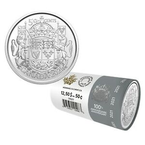 2021 50 Cent Limited Edition From Mint Roll 100th Anniv. of Canada Coat Of Arms