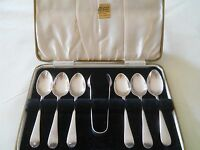 LOVELY CASED STERLING SILVER SPOONS AND SUGAR TONGS SHEFFIELD 1937