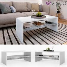 VICCO Couchtisch Weiß Beton Optik Wohnzimmer Sofatisch Kaffeetisch Tisch
