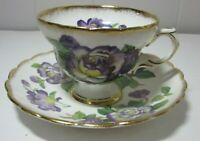 Rosina Purple Flowers Vintage Bone China Tea Cup & Saucer Made in England