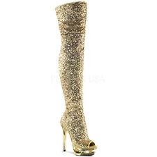 Gold Sequins Diamonds Thigh High 70s Disco GoGo Dancer Boots size 7 8 9 10 11